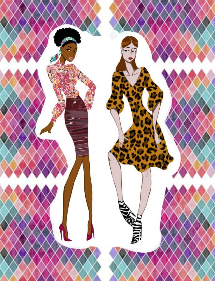 Illustration of two women wearing a red silky dress and a leopard patterned dress