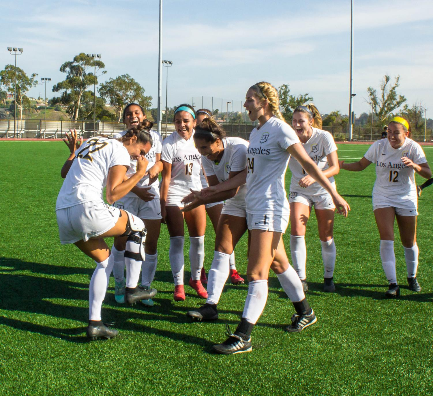 Cal State LA's Women's Soccer team's post goal celebration was one of two goals that lead them to a 2-0 shutout against Cal State Dominguez Hills on Sept. 26, 2018 at the Jesse Owens Stadium.  Photo: Micheal Griego
