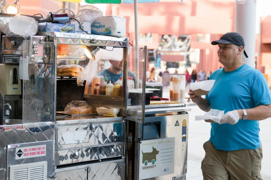 Food such as organic hot dogs are one of the few options at the 323 Market-2.