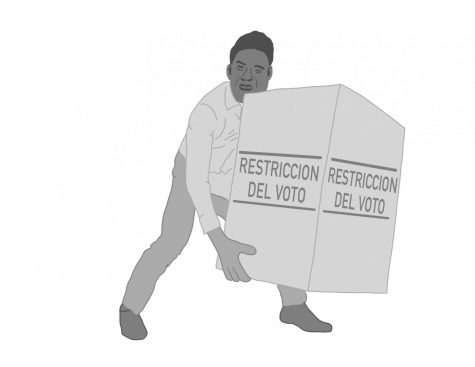 Man carrying a box stating