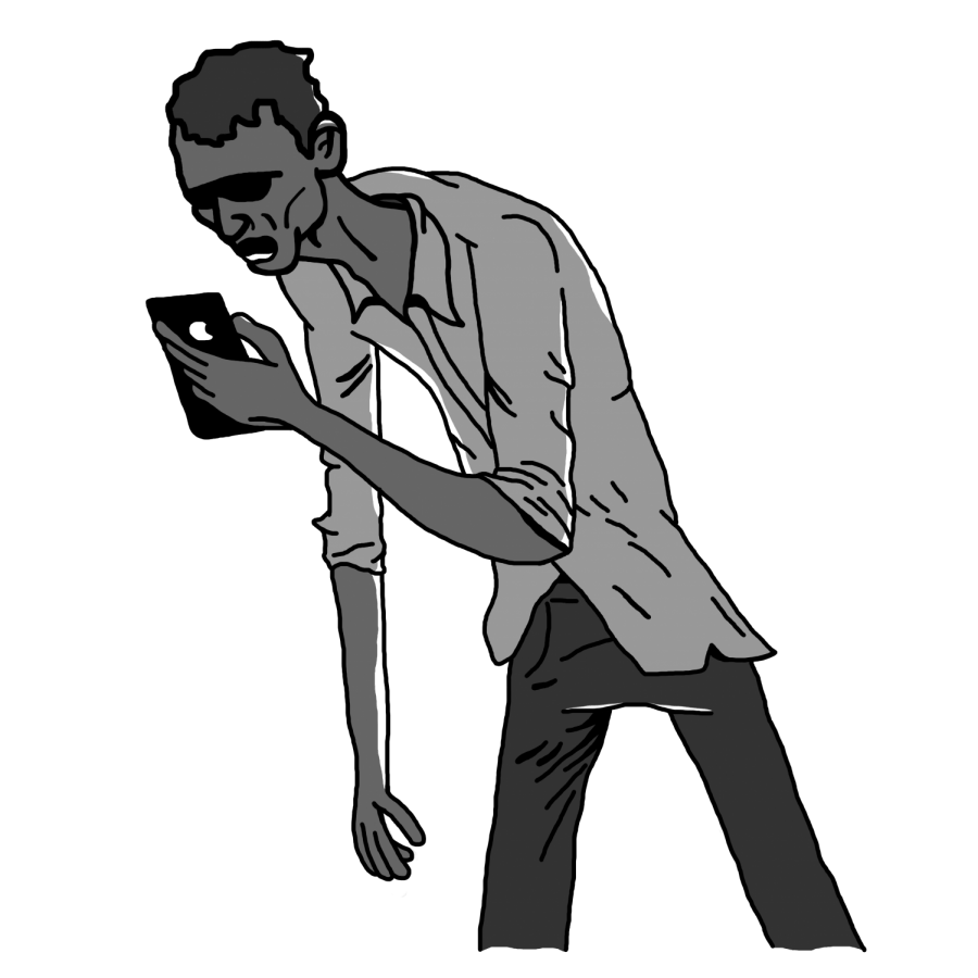 Illustration of Zombie Boy with pale/grey skin, drawn by Brennan Hernandez