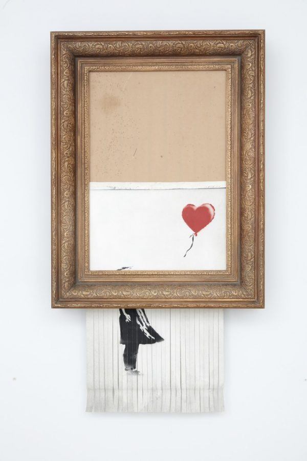 Bansky+new+picture+is+destroyed+as+it%27s+being+auctioned+in+an+open+gallery