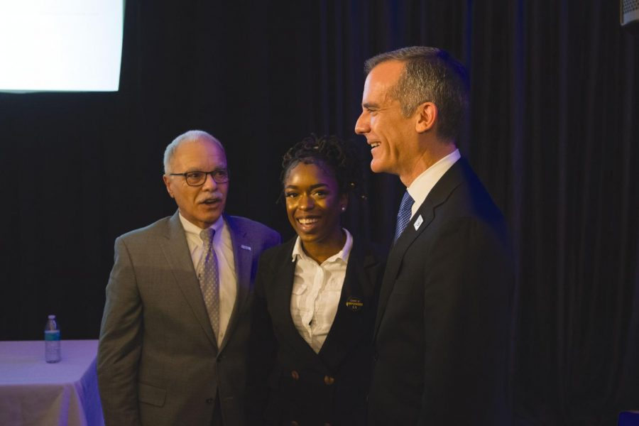 Cal State LA president William Covino (left), ASI President Nia Johnson (middle) and Los Angeles mayor Eric Garcetti after Garcetti_s keynote speech.