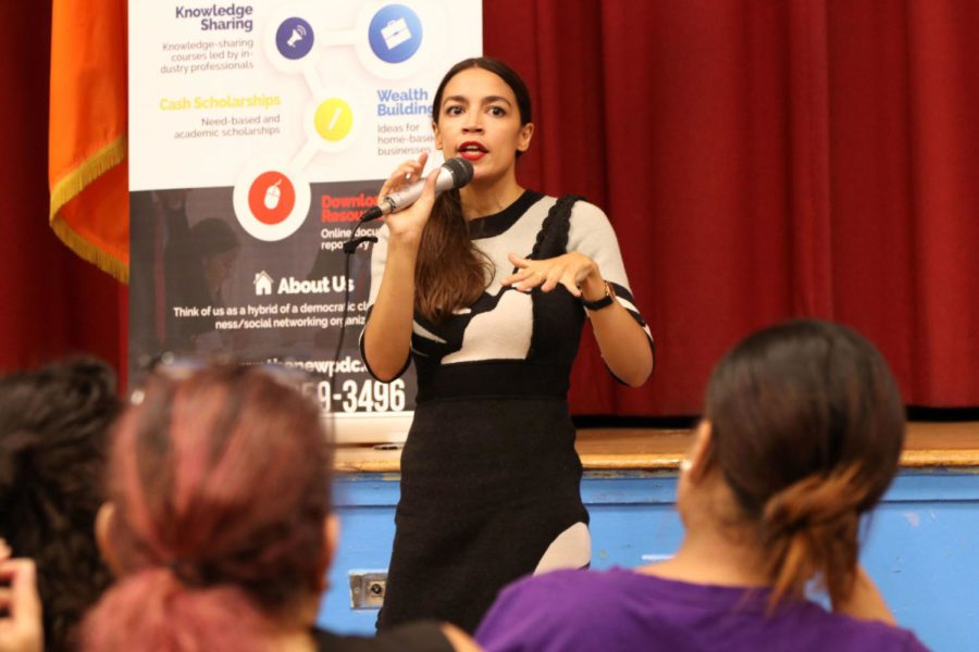 Democratic+primary+winner+Alexandria+Ocasio-Cortez%2C+the+darling+of+progressive+U.S.+politics%2C+takes+questions+from+constituents+in+the+Parkchester+section+of+The+Bronx+on+August+8%2C+2018.+