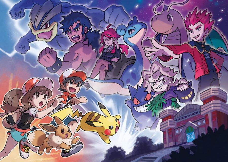 Picture of Pokemon trainers with pikachu and fighting against other Pokemon