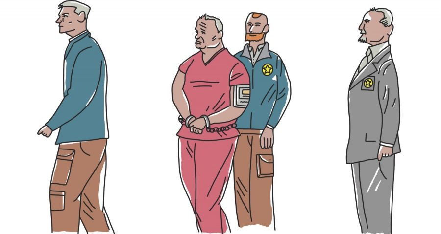 Illustration of two policemen escorting an old, grey haired man with shackles between his wrists, while frowning with a face sadder than a puppy
