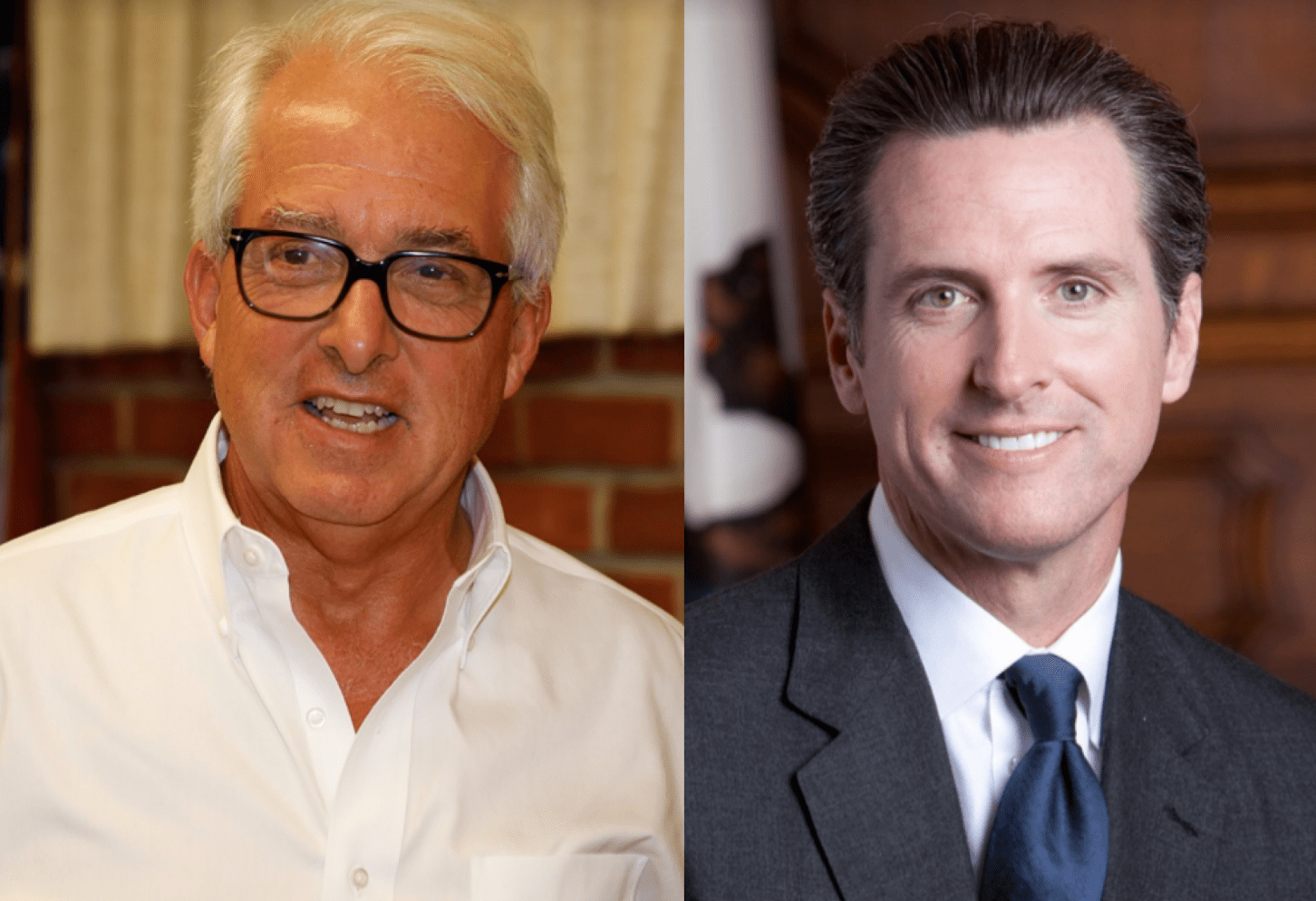 Photo of gubernatorial candidates John Cox, left, and Gavin Newsom, right. (Left image by Tommy Lee Kreger, license CC by 2.0. and right photo courtesy of the state of California.)
