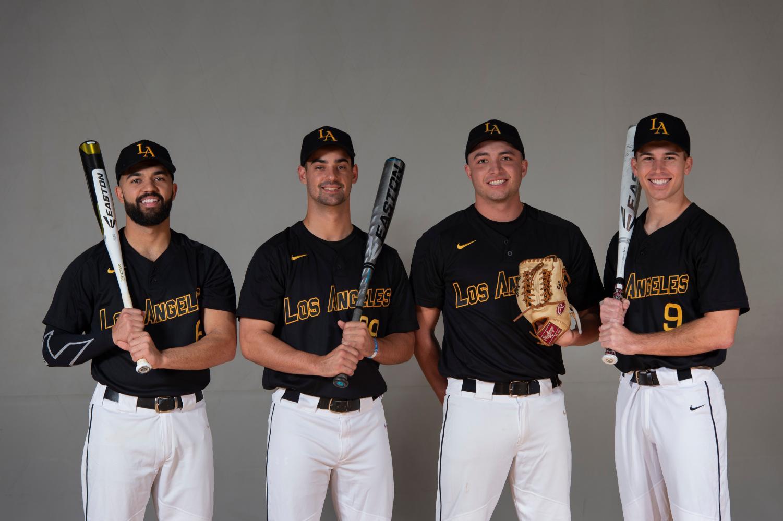 Men's baseball team ready to start the 2019 season. Picture left to right: Nate Alam, Adam Gordon, Saxon Andross, Spencer Sundahl. Photo courtesy of  Cal State LA Athletics