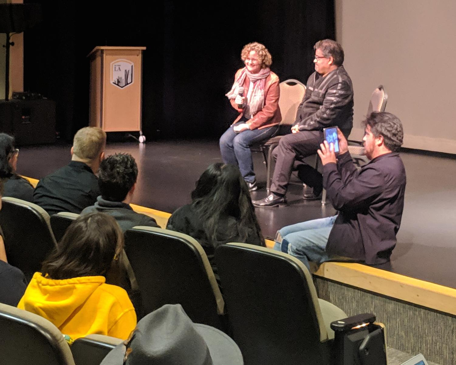 Filmmaker Betsy Kalin and Roberto S. Oregel field questions. (Matthew Salcido/Community News)