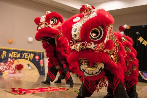 Immortals performing Lion Dance front and center for the audience of the Lunar New Year event. Photo by Joshua Mejia