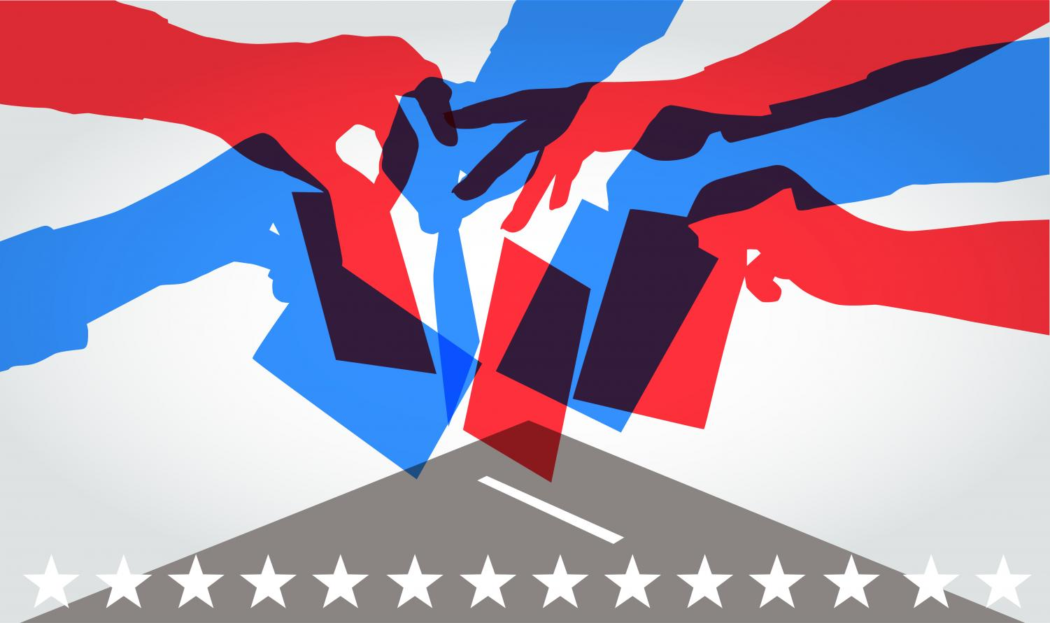 Colourful overlapping silhouettes of people voting in USA elections. Photo Courtesy:  Getty Images