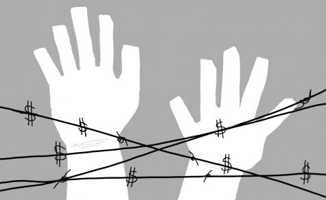 Picture of two hands on a barbed wire, pictured as dollar signs.
