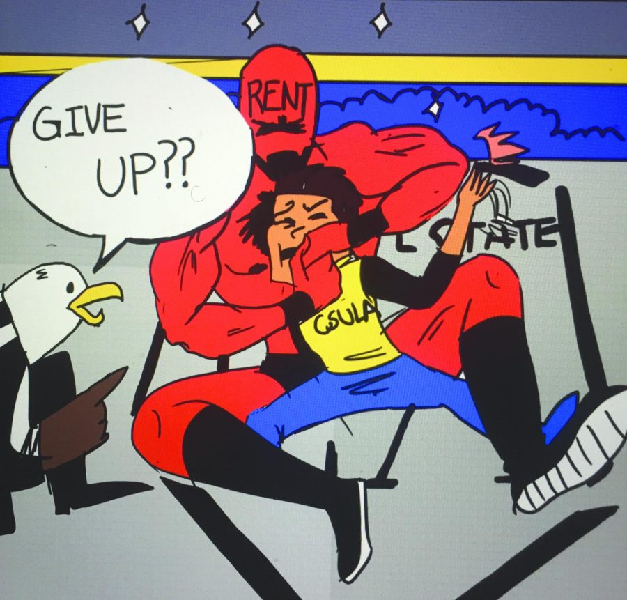 Comic of csula student being beaten up by a man which represents