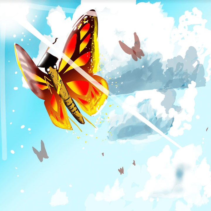 Painting of a butterfly wearing a graduation cap, under the sunny blue sky.