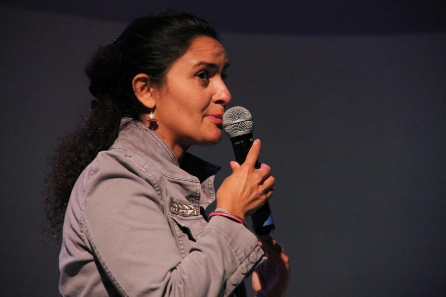 Dr. Anita Sengupta, speaks about her experience working on the Curiosity Rover at the University -Student Union Theater on Thursday, April 11.