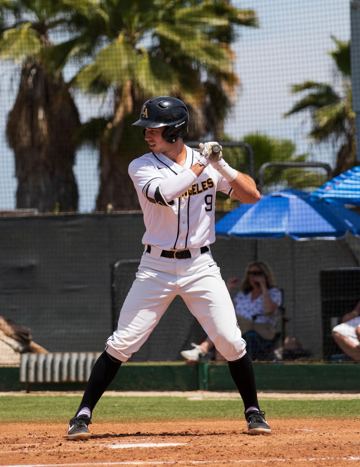 Golden Eagles' team captain, Spencer Sundahl (9), takes his at-bat against the San Marcos Cougars.