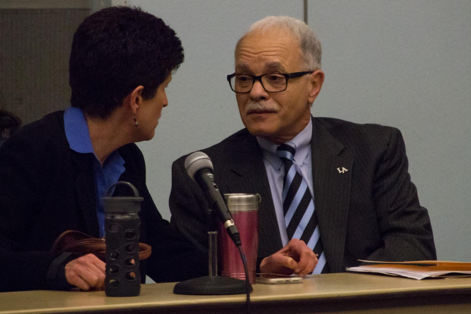 Former Provost and Vice President for Academic Affairs Dr. Lynn Mahoney (left) and Cal State LA President William A. Covino (right) at the Academic Senate meeting on Tuesday, April 23