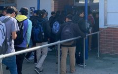 Students waiting in line to get their lunch at El Rancho High School.