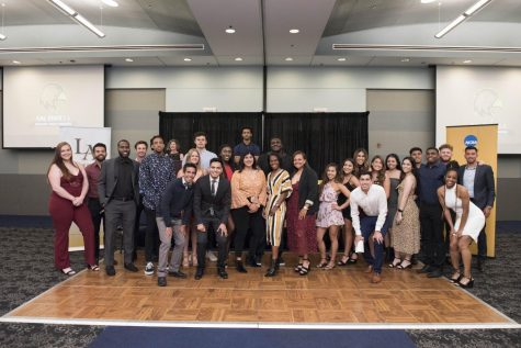 Cal State LA student athletes honored by the athletic department in awards banquet.