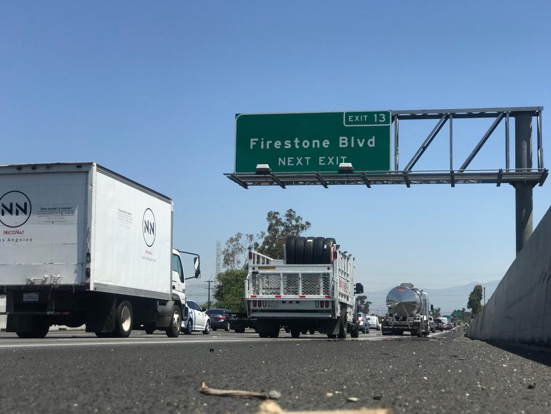 Debris on the 710 freeway near the Firestone boulevard exit.