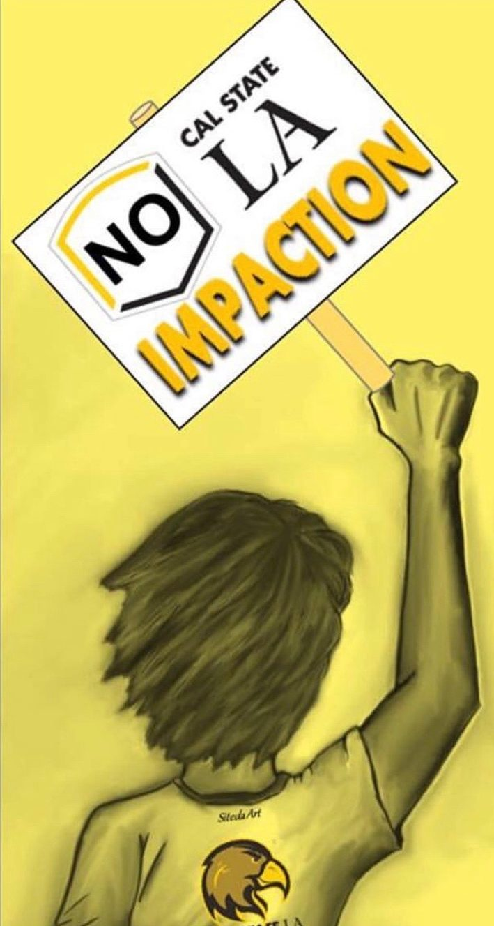 A striking graphic protesting impaction at Cal State LA, courtesy of Golden Eagle Justice Instagram.