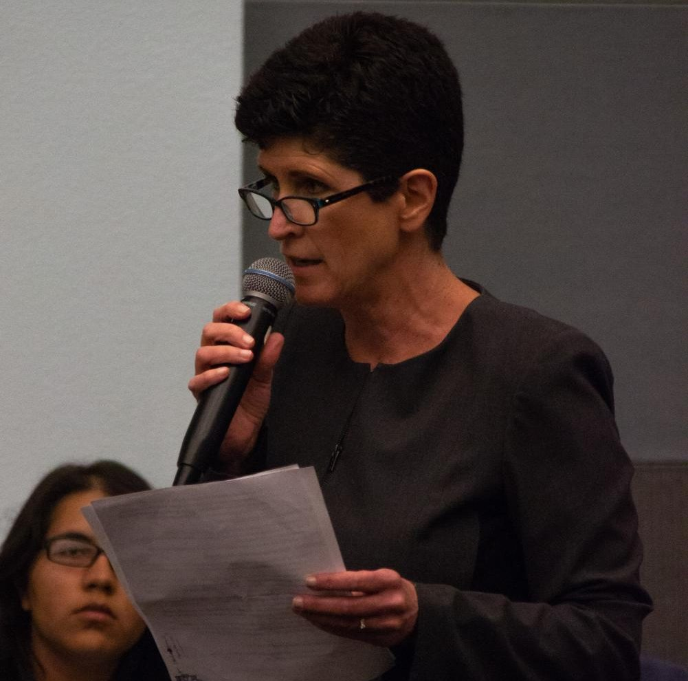 Cal State LA's Provost and Vice President for Academic Affairs, Dr. Lynn Mahoney, addresses the Academic Senate duering their last meeting of the spring 2019 semester. Dr. Mahoney is one of the key administrators Cal State LA student organizations are attempting to remove from office.