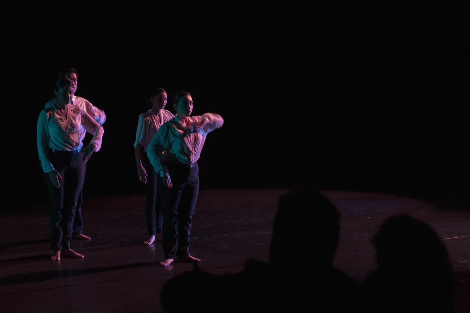 The Turn dance choreographed by Jessica Harper being performed at the Intimate Theatre at the Luckman during the Spring Dance Concert last Friday at Cal State L.A.