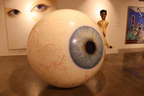 Big Eye by Tony Tasset on display at the Fine Arts Gallery
