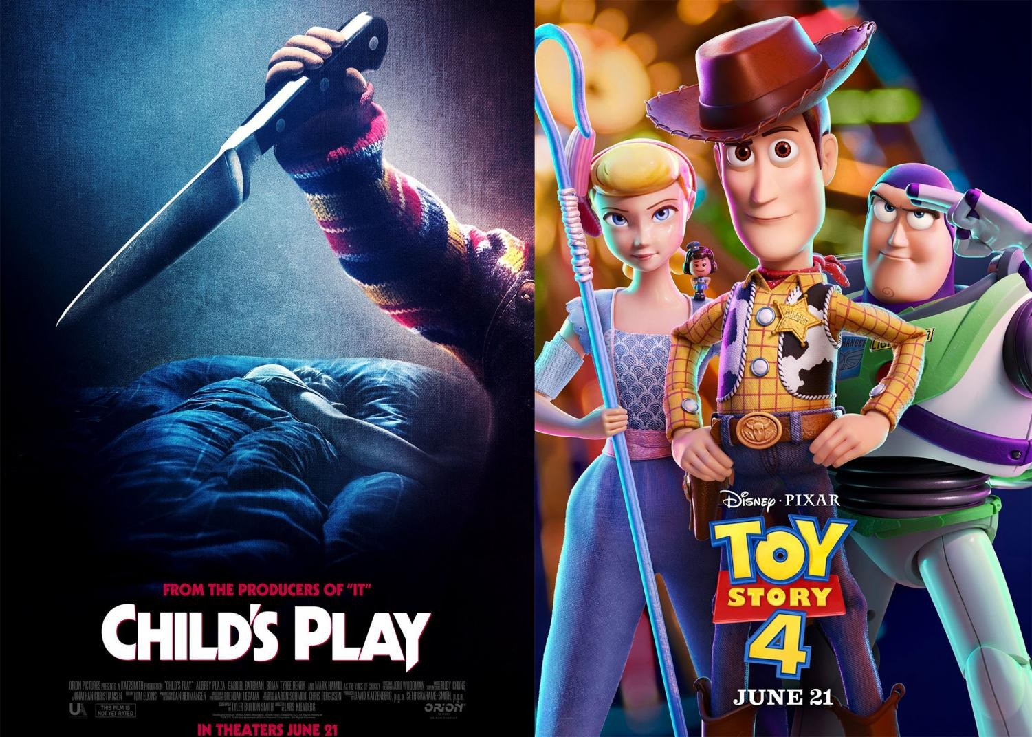 Child's Play Theatrical Poster (left) and Toy Story 4 theatrical poster (right)