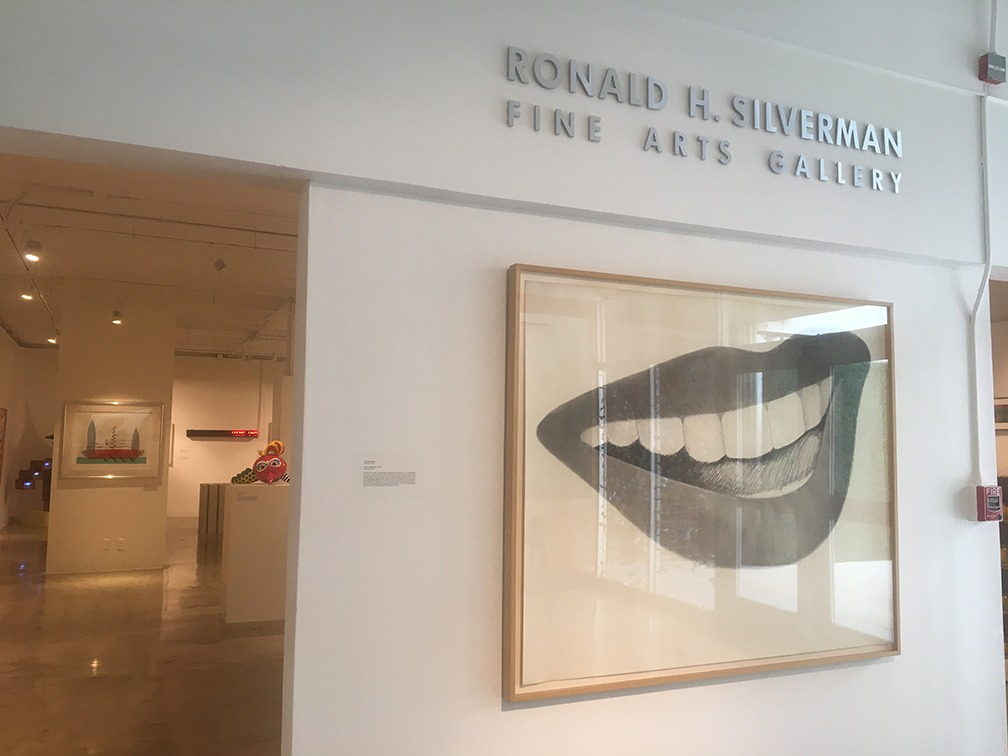 Tom Wesselmann's Study for Mouth No. 4 is the first piece of artwork displayed at the Pop Culture exhibit at Cal State LA's newly renamed fine arts gallery titled the Ronald H. Silverman Fine Arts Gallery