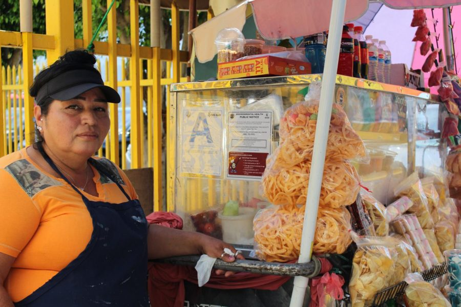 A+portrait+of+Oralia+Figueroa+Castaneda+beside+her+fruit+stand.