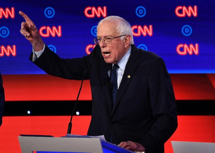 Democratic presidential hopeful US senator from Vermont Bernie Sanders delivers his closing statement during the first round of the second Democratic primary debate of the 2020 presidential campaign season hosted by CNN at the Fox Theatre in Detroit, Michigan on July 30, 2019.