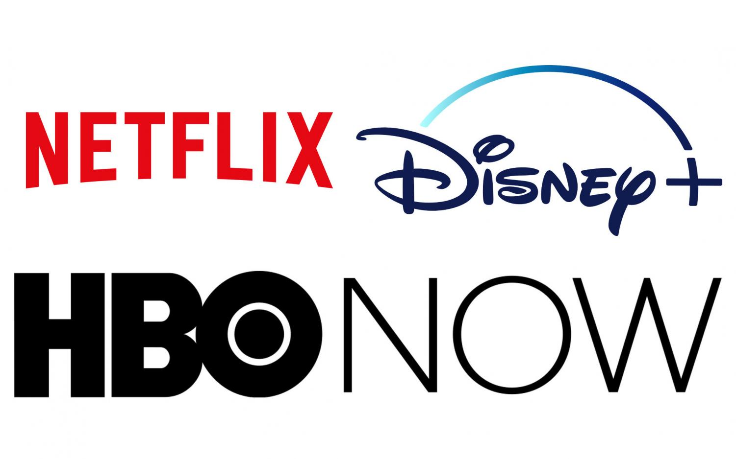 Netflix, Disney Plus, and HBO Now fight to make their streaming services more prominent by including popular shows and movies in order to gain more traction of their service. Netflix, Disney + and HBO Now logos compiled by Brian Delgado.