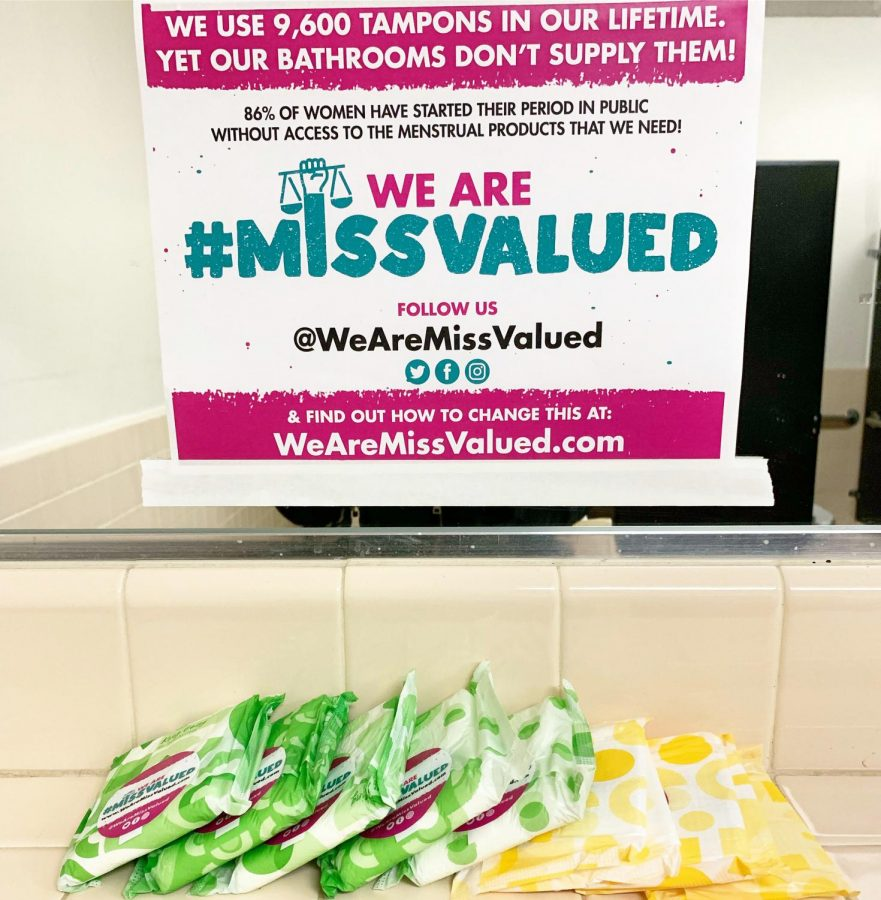 Pads that were placed inside of Women's Restroom at Cal State LA.
