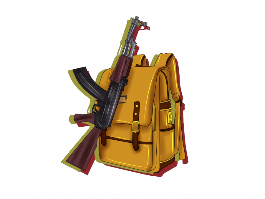 Illustration of a rifle and a backpack.