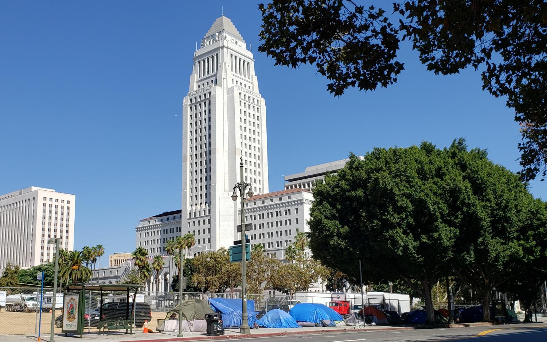 Homeless encampment outside of City Hall.