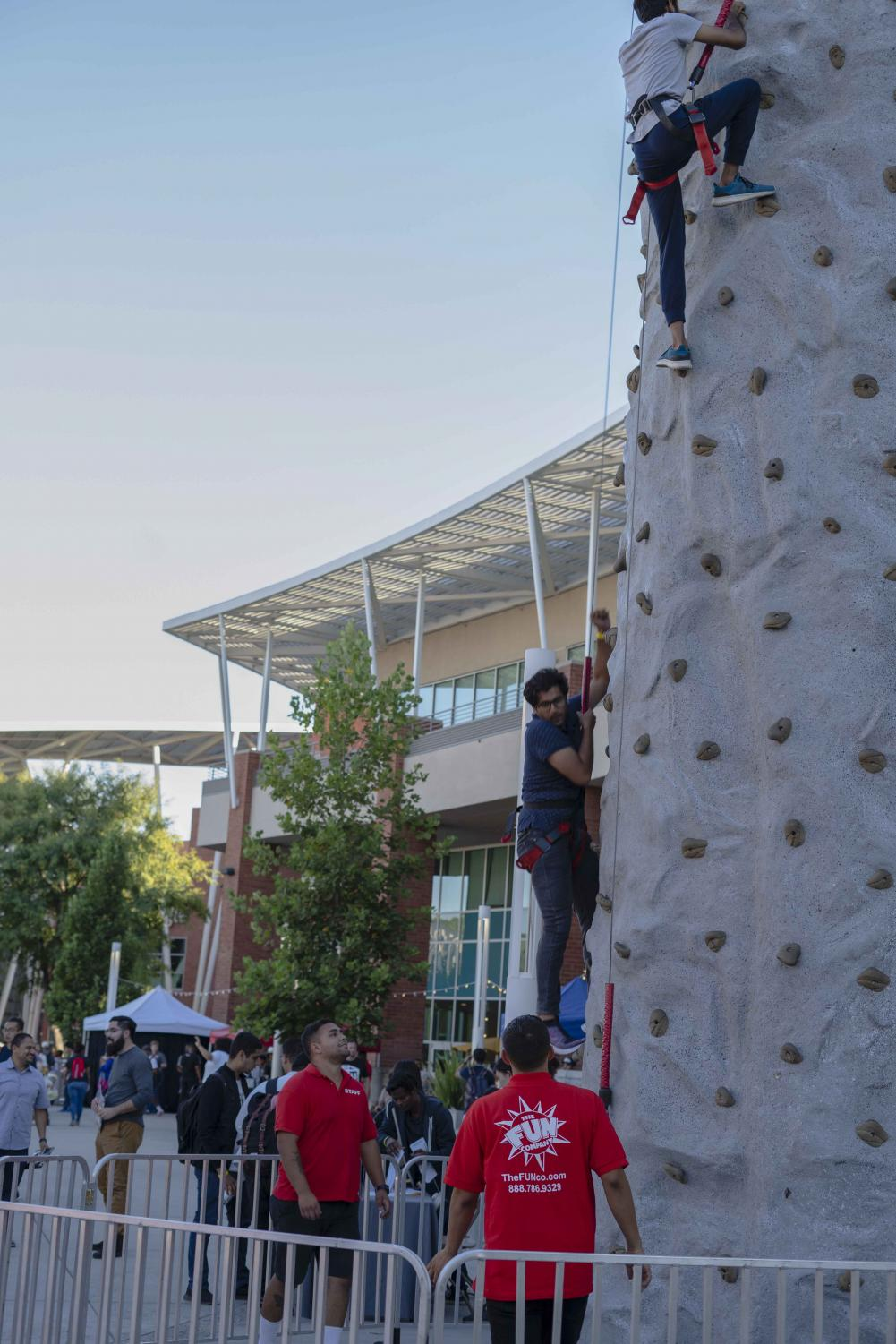 Rock+climbing+was+a+favorite+attraction+of+the+evening+during+the+celebration+of+the+45th+anniversary+of+the+University+Student-Union+at+Cal+State+LA+last+Thursday.