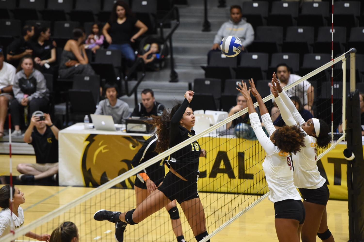 Victoria Duarte attempts to spike the ball against Cal State Dominguez Hills. Cal State LA defeated the toros 3-1.