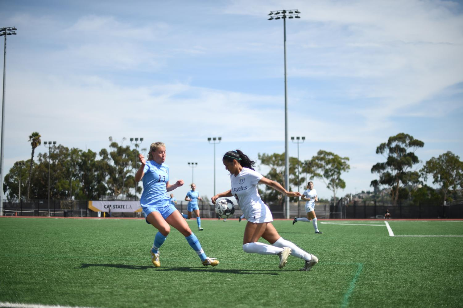 Yailene Lemus (right) counters the opposing player from the ball. Cal State LA women's soccer team won against Western Washington in a game of 1-0 on Monday, September 16, 2019.