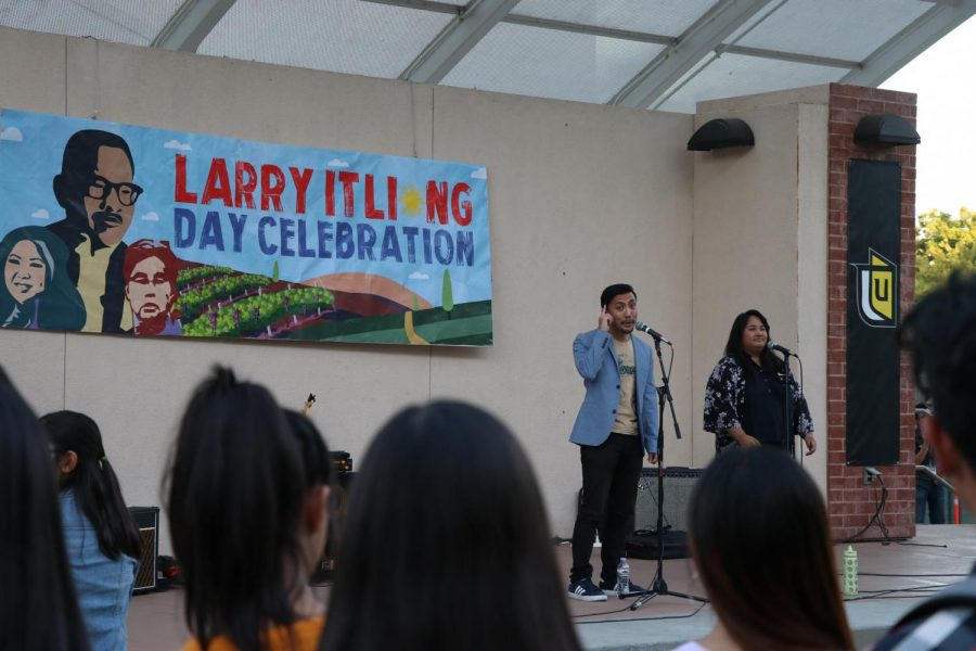 Stephanie+Sajor+and+Eddy+M.+Gana+Jr.%2C+who+make+up+the+spoken+word+duo+Steady%2C+share+their+poetry+at+the+Larry+Itliong+day+celebration+hosted+on+campus.+