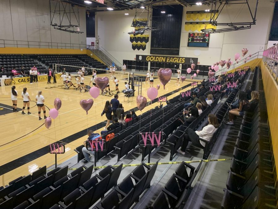 The Cal State LA gym held up pink balloons all over the gym for Breast Cancer Awareness.