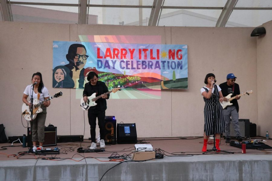 Xella, an alternative R&B music group made up of Filipino members, performs at Cal State LA's Larry Itliong day celebration.