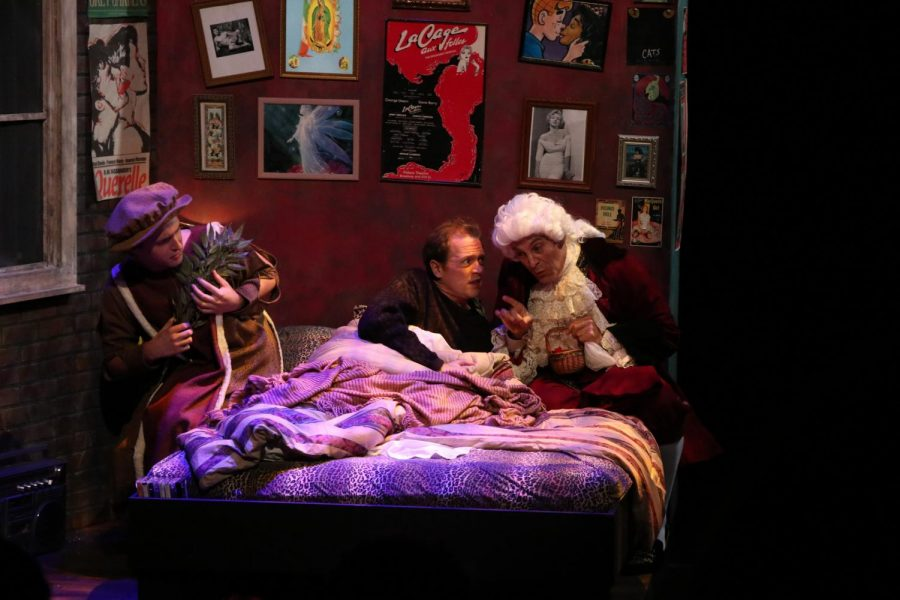The cast of Angels in America, Part One: Millennium Approaches acts out a scene in which Prior Walter is visited by his ancestors of the same name. (Left to right: Steven Alexander Hester, Adam Ferguson, James Feuer).