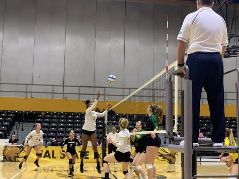 Golden Eagle Volleyball Sweeps Again on Dig Pink Night