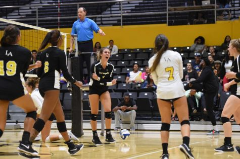 Cal State LA volleyball defeated Cal State San Marcos in a 3-0 sweep.