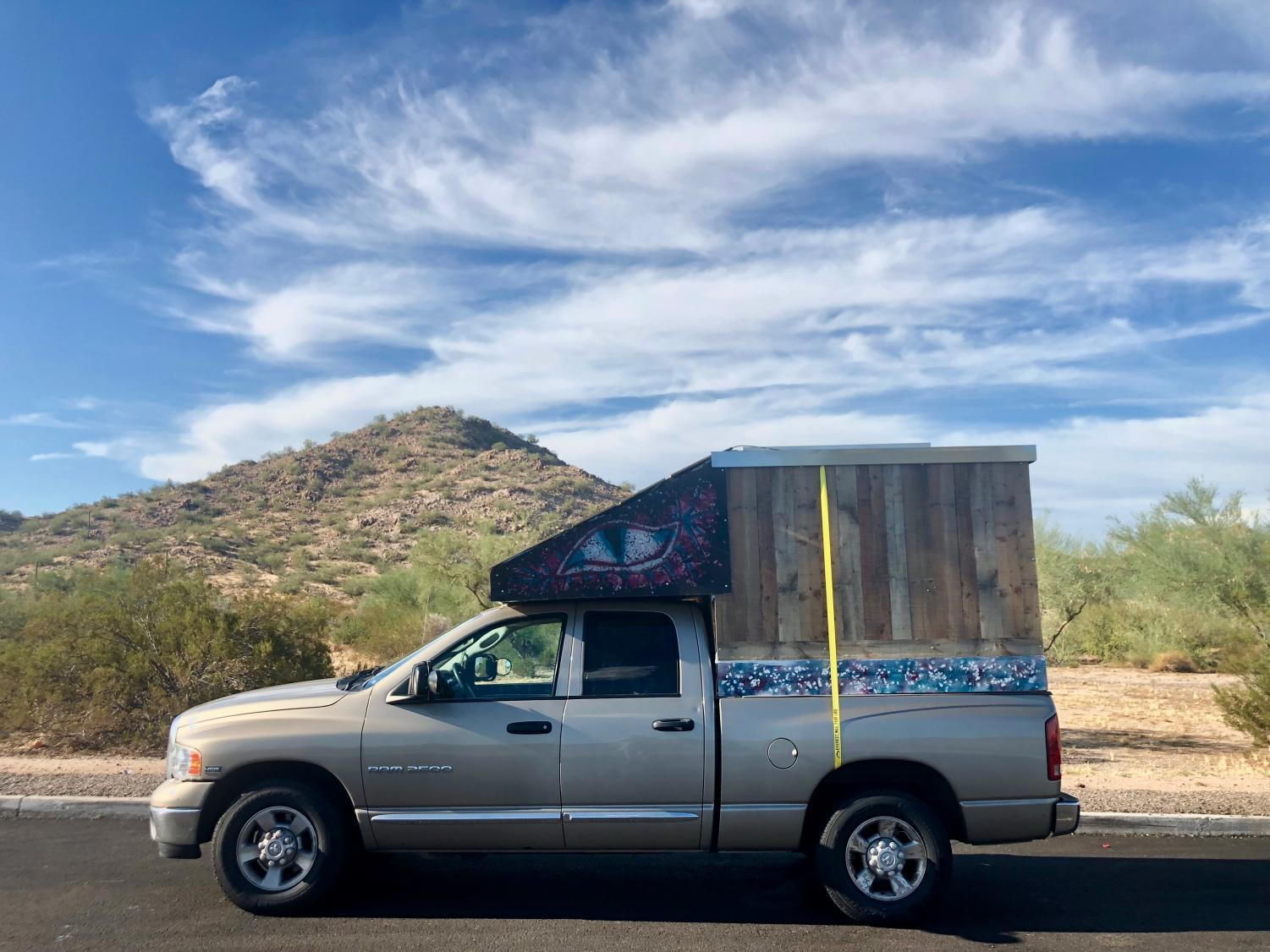 Michael O'Mahony travels all over to different nature reserves in his home, a Dodge RAM. His favorite location, Yuma, Arizona.