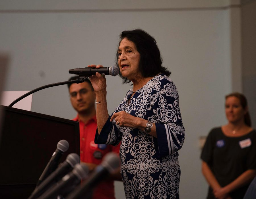 Dolores+Huerta+speaks+last+after+the+panel+to+discuss+about+the+importance+of+the+upcoming+2020+census+and+how+it+may+affect+Hispanics.