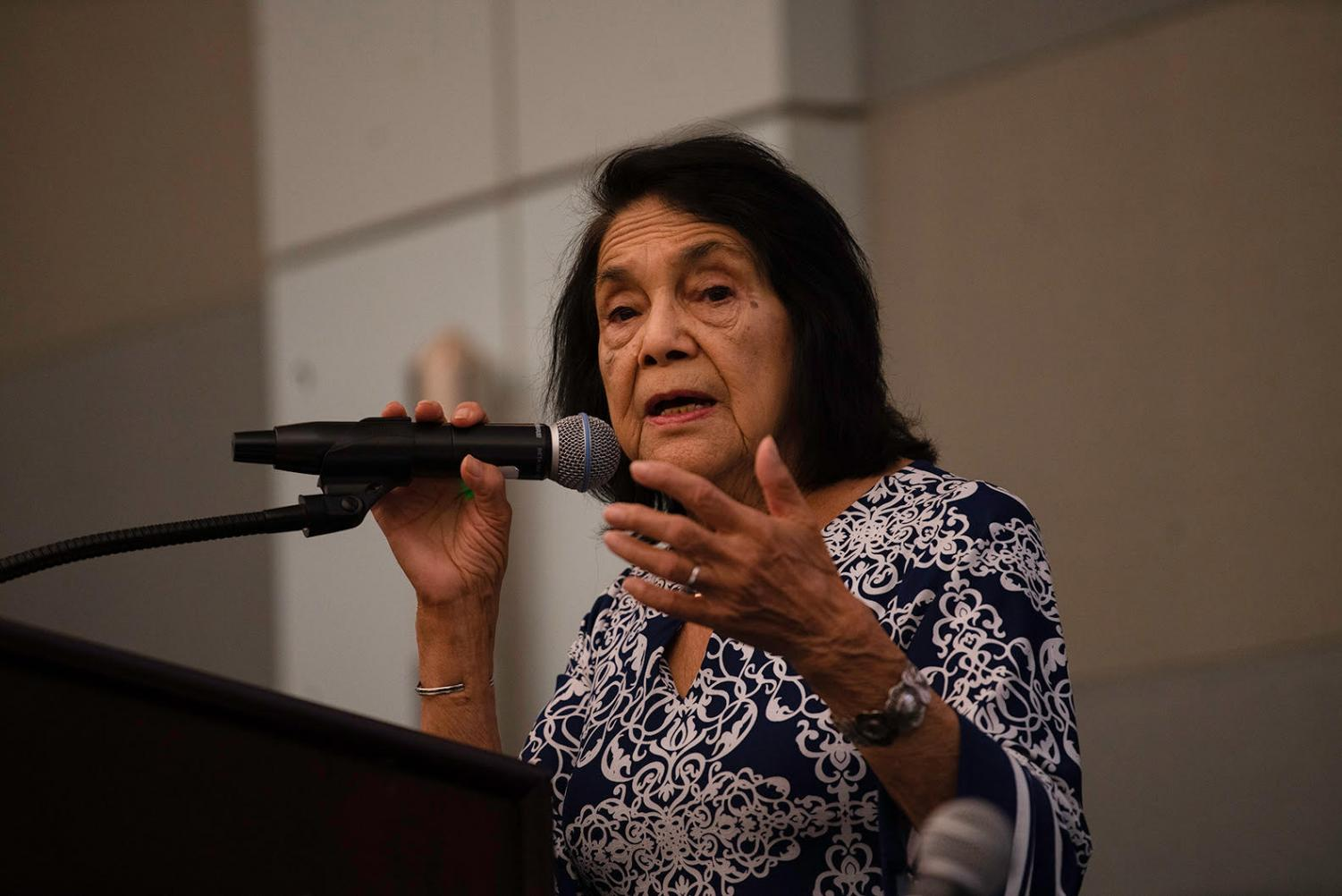 """Dolores Huerta, founder & president of the Dolores Huerta Foundation and Cofounder of the United Farm Workers of America with Cesar Chavez, spoke at the """"Empowering La Comunidad""""-Gentrification Town Hall."""