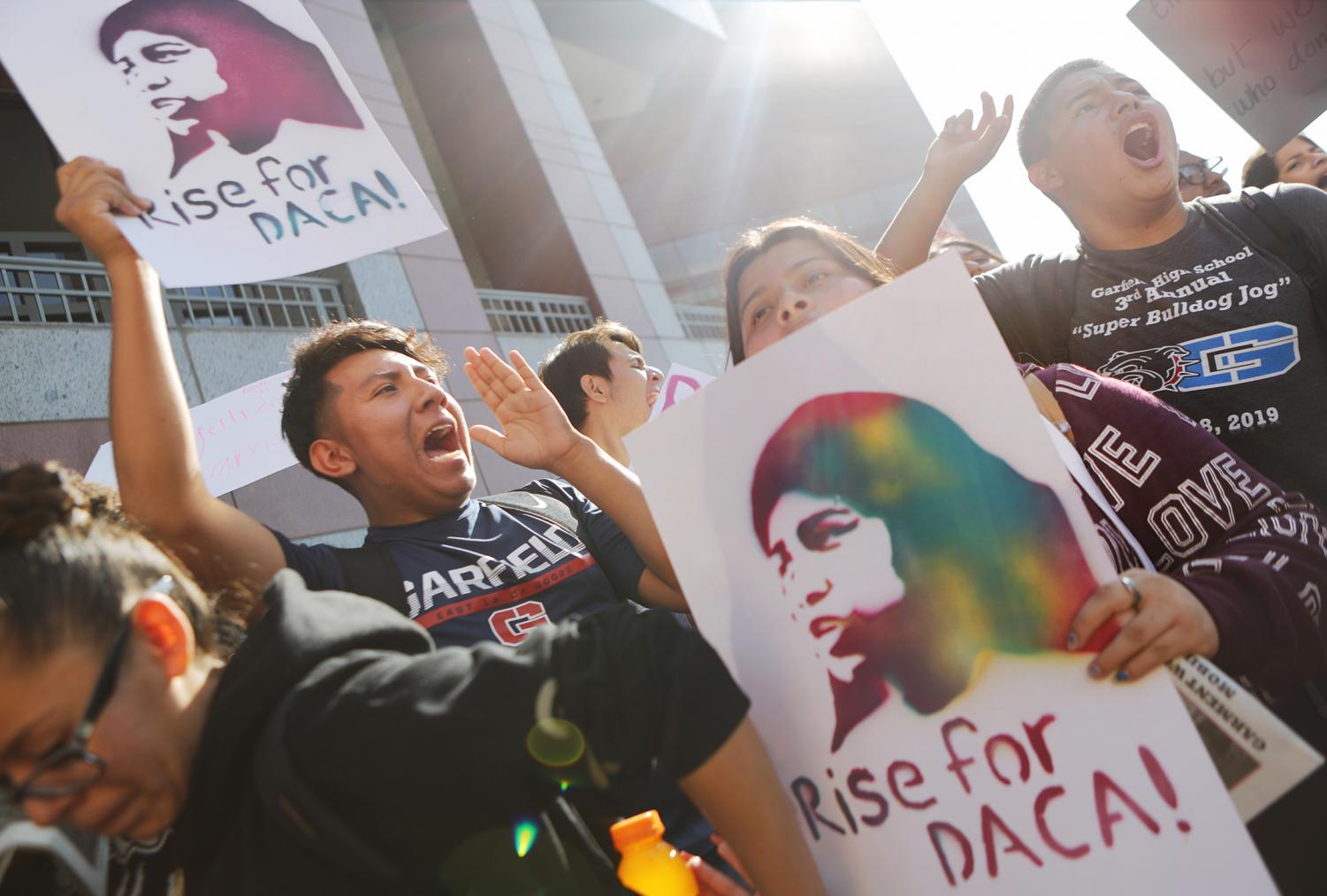 Students and supporters of DACA rally in Los Angeles on November 12, 2019. The protest was in response towards the Supreme Court hearings.