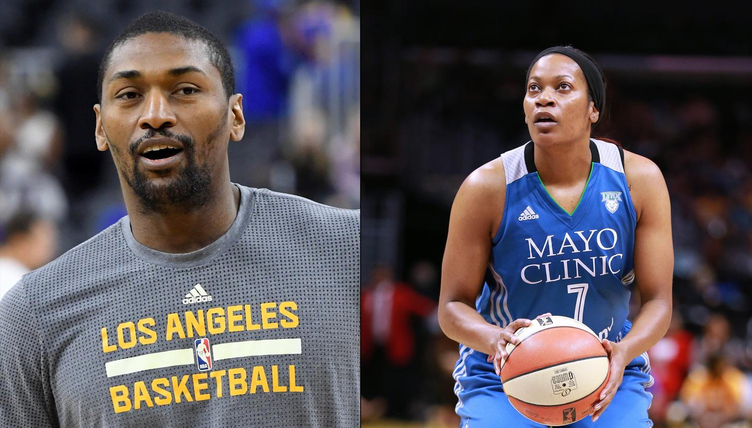 Metta World Peace of the Los Angeles Lakers (left) and Jia Perkins of the Minnesota Lynx shown side-by-side.